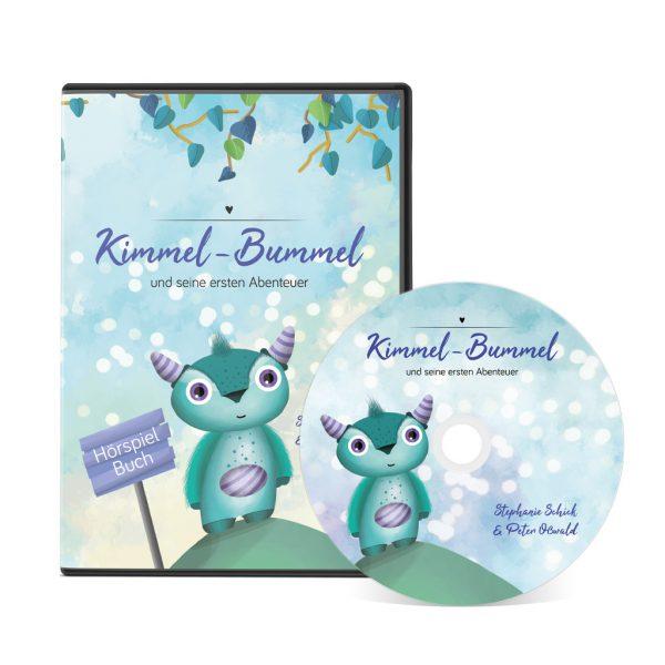 Unser Hörspielbuch von Kimmel-Bummel und seine ersten Abenteuer. Die CD-Hülle steht aufrecht, die CD lehnt davor.