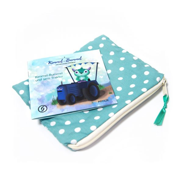 Eine Tasche für unsere MIbUX mit Reißverschluß, in Türkis mit weißen Punkten!